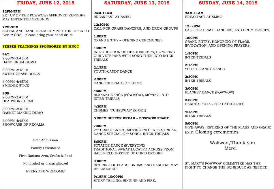 St Marys Pow Wow Schedule 2015