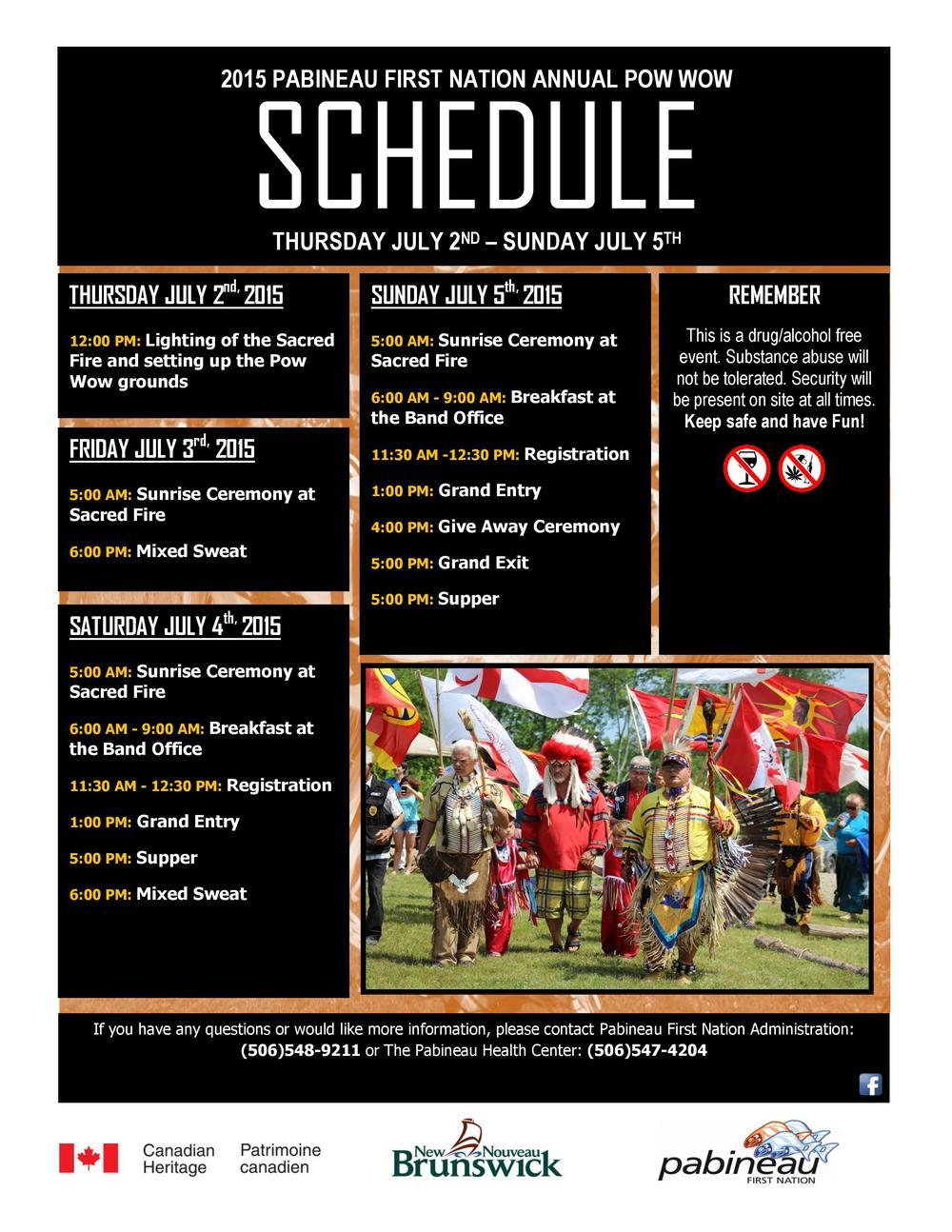 2015 Pabineau Pow Wow schedule