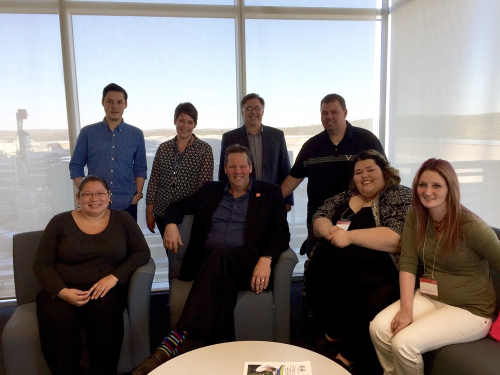 From left to right: Erin Leaman, Cameron  Russell (IBM), Lynn Clark (IBM), Michel Doucet (CCNB), Jean-Marie Pelletier (CCNB), Jason Tozer (JEDI), Julianna Peter-Paul, Cindy Mallery