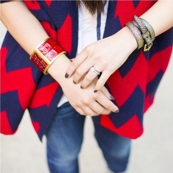 @hautepinkpretty wearing her ruby large cuff and gold wrap bracelet.