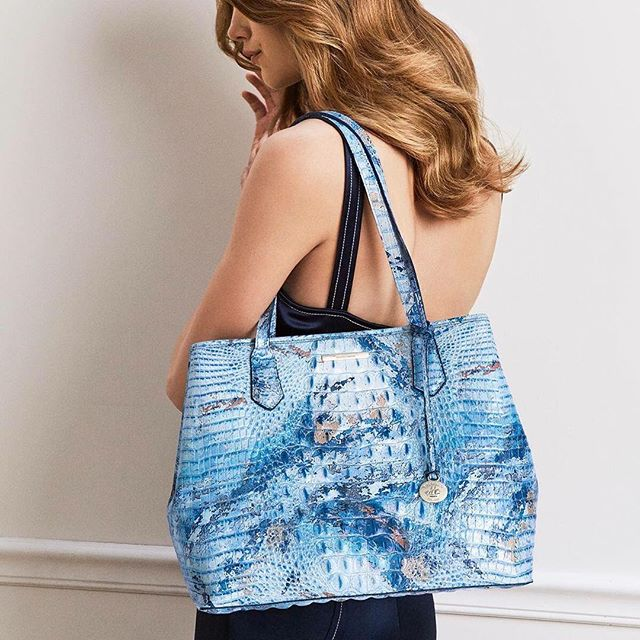Meet Seaside: Our newest Brahmin exclusive Melbourne is a marbled masterpiece with bright swirls of ocean blue. #answerwithbrahmin