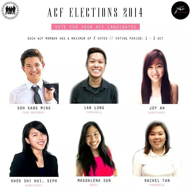 VOTING has started! Vote for your ACF 11th Management Committee candidates now!  Voting links have been sent out via your individual school emails so look out for it! Your vote matters!  Voting period is between 1-2 October 2014. Each ACF member is entitled to a maximum of 3 votes.