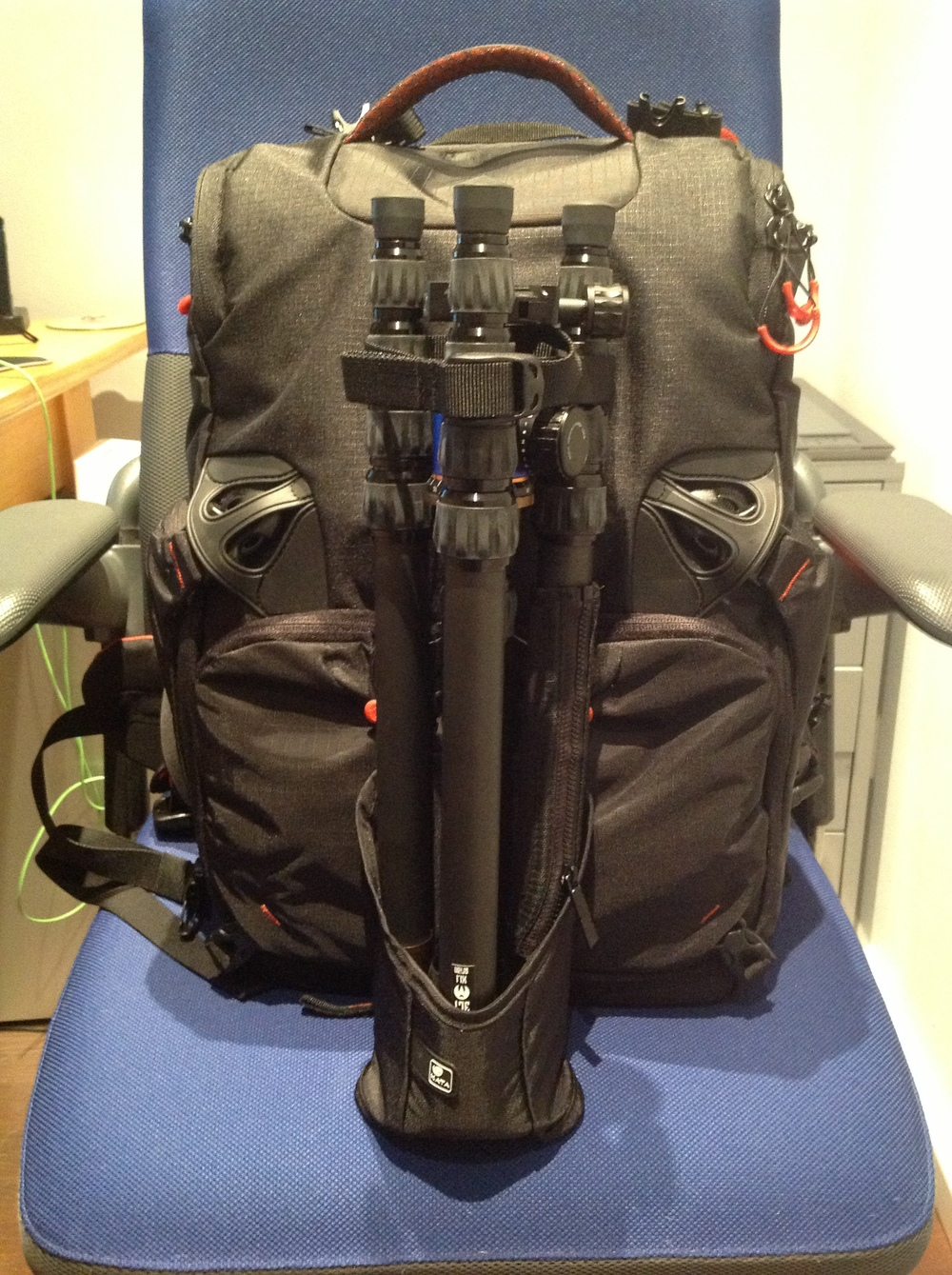 "fully packed with 3-legged thing tripod ""Brian""."