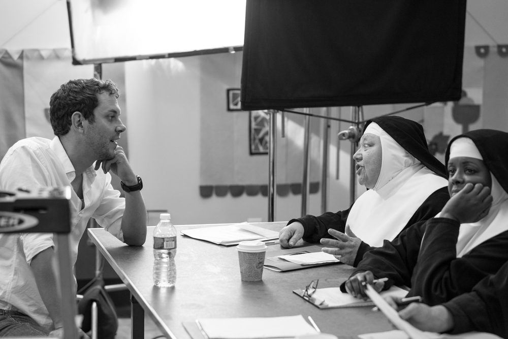 "Above: David on the set of ""Nunsense."""