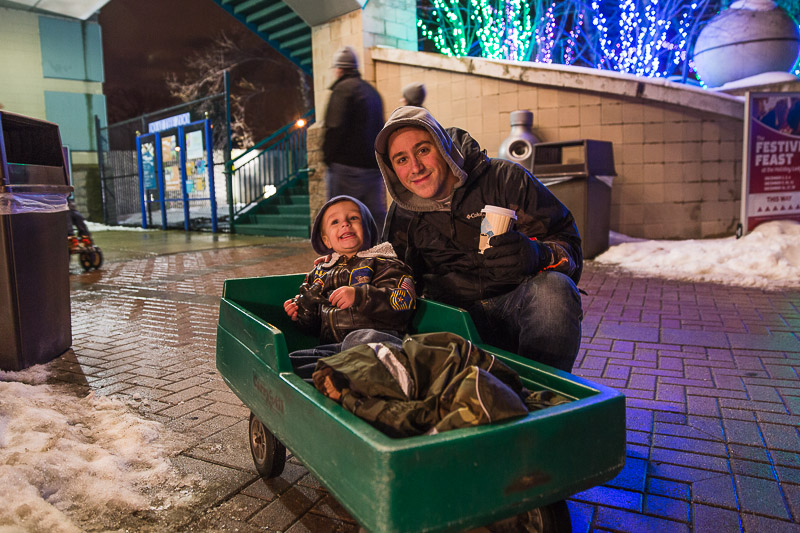 "Noah and Daddy at ""The Lights Before Christmas"" in the Toledo Zoo"
