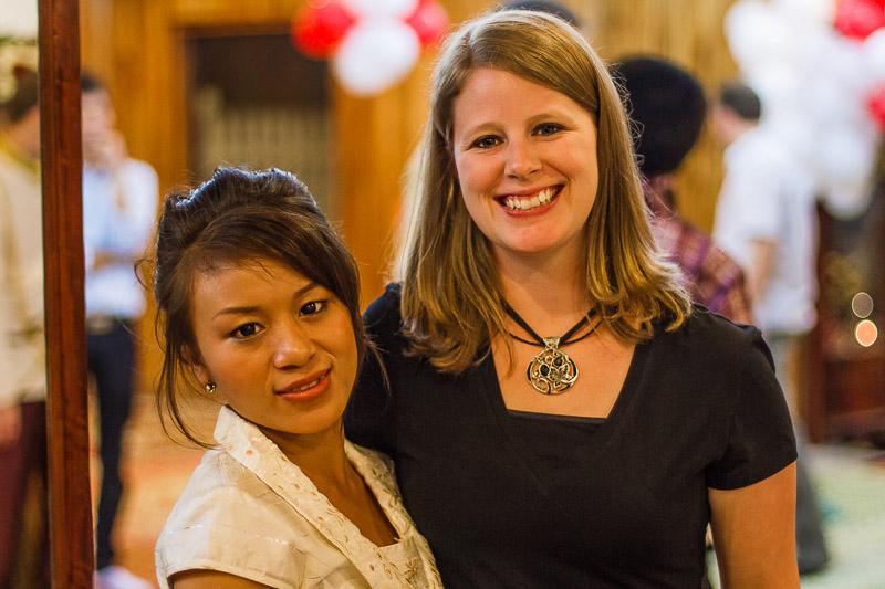 Duang and Tonya at a Lao engagment party.