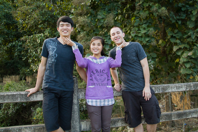 Thieng, Keo, and Josh at Thieng's Village