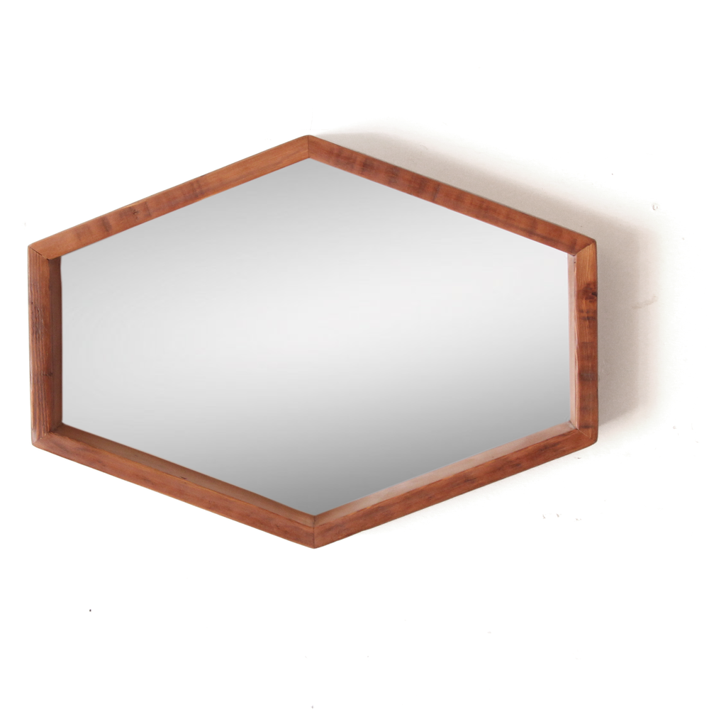 The Sundberg | Hexagon Mirror Wide | Reclaimed Fir