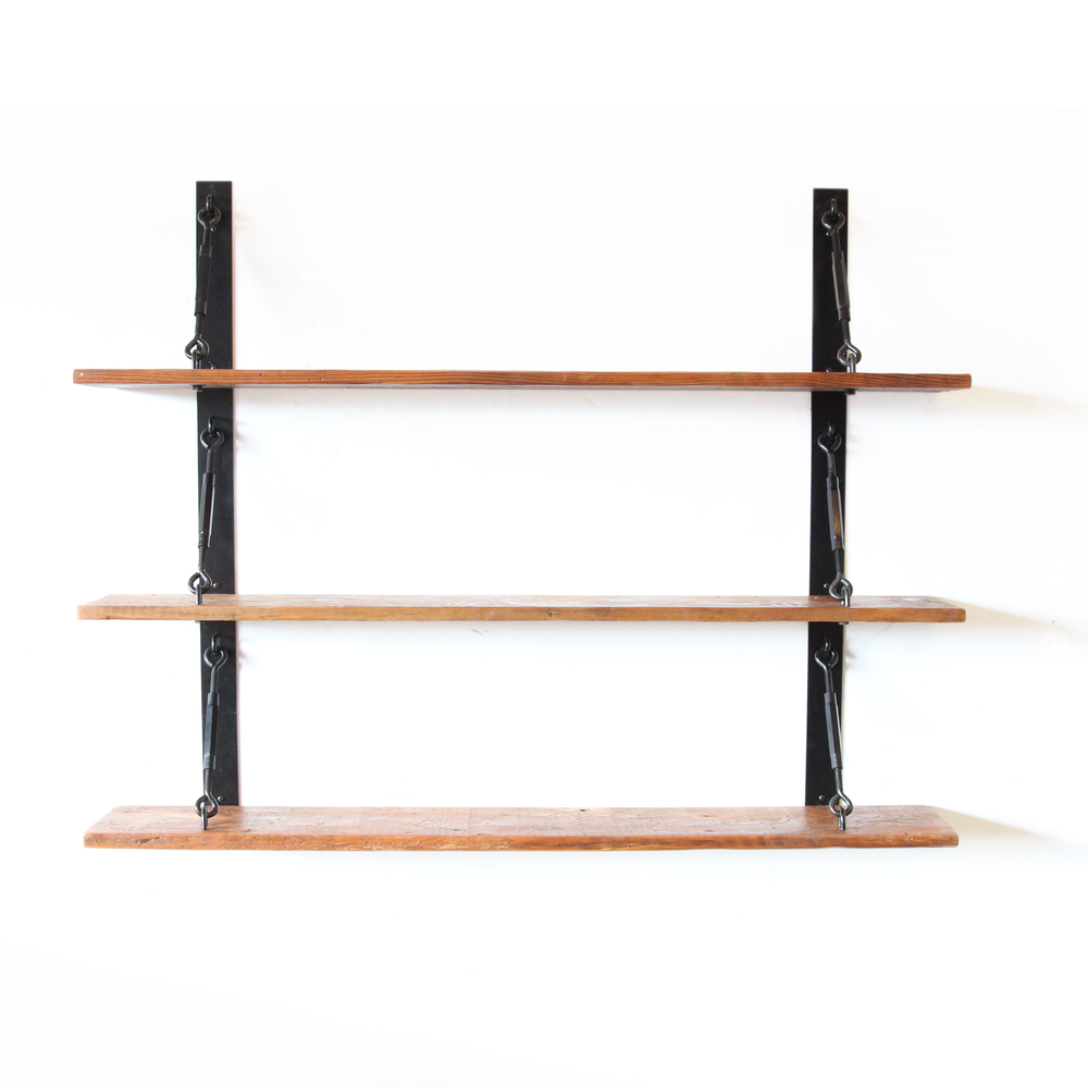 Turnbuckle Strap Shelf | Ebonized Black | Salvaged Timber