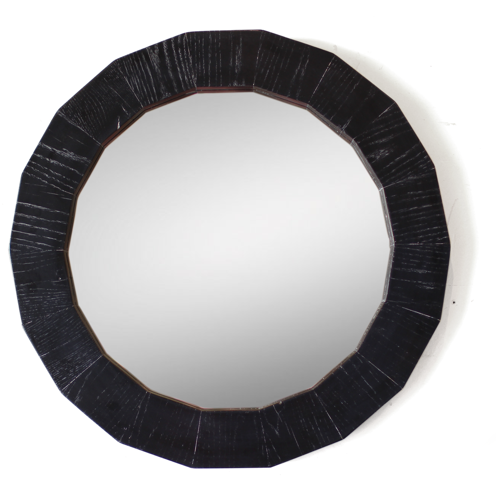 The Baer | Round Mirror | Cerused Oak