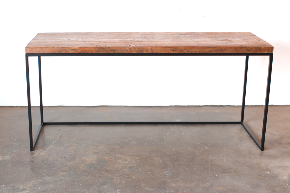 Simple Slab Desk | Steel Base | Reclaimed Fir