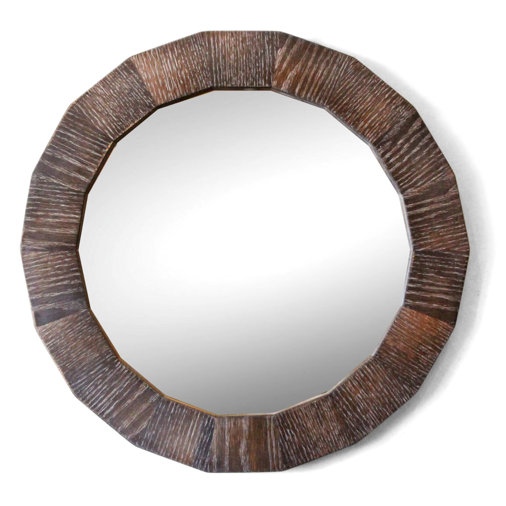The Murphy | Round Mirror | Cerused Oak