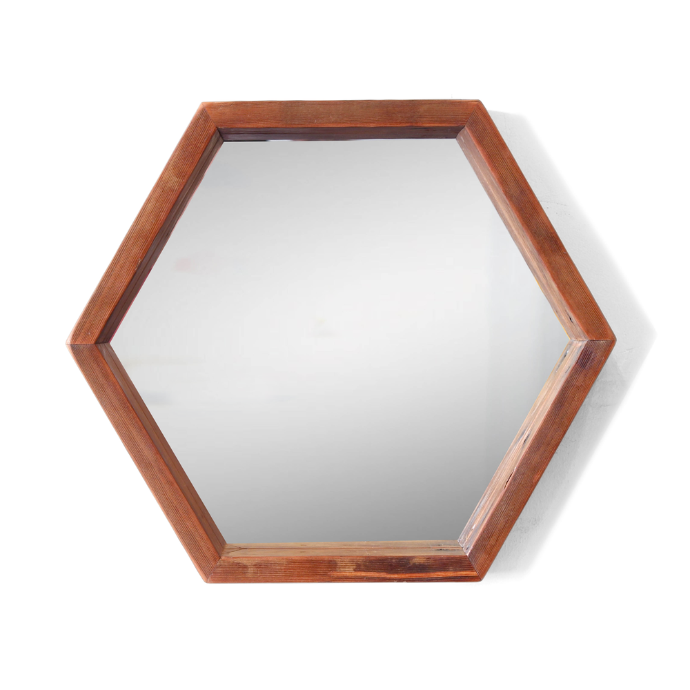 The Boyakin | Hexagon Mirror | Reclaimed Fir