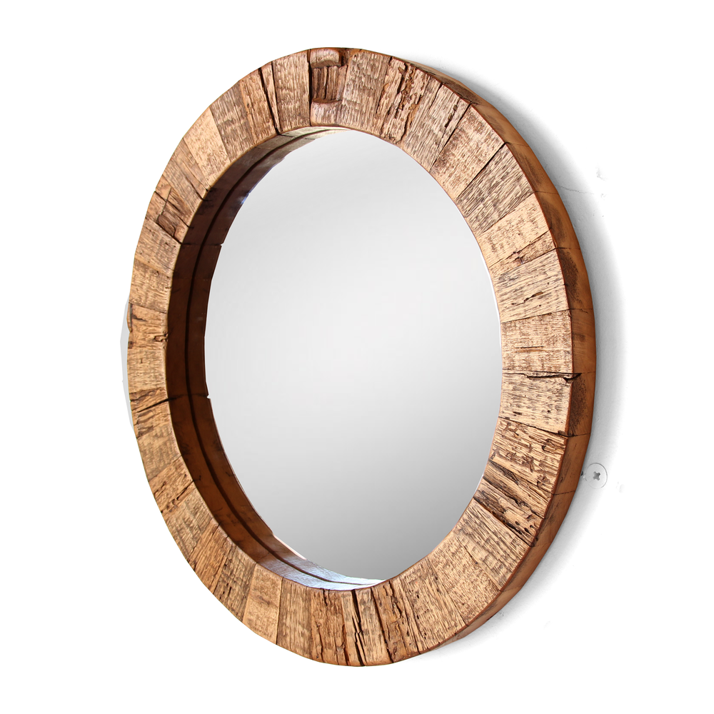 X the collier round mirror reclaimed wood silicate for Round wood mirror