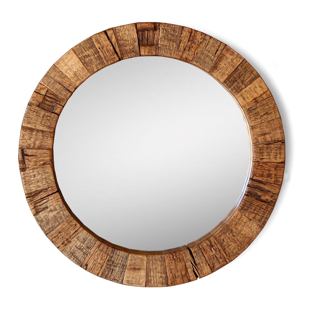 X The Collier Round Mirror Reclaimed Wood Silicate