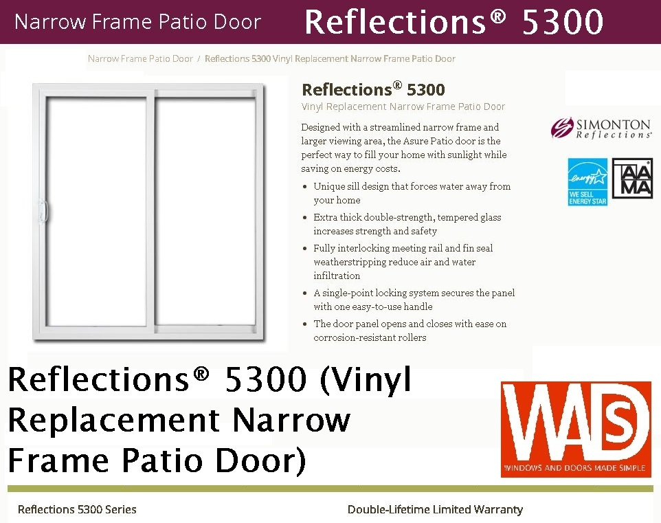 Reflections® 5300 (Vinyl Replacement Narrow Frame Patio Door).JPG