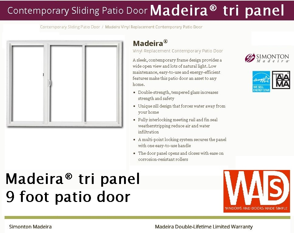 Madeira® Tri Panel 9 Foot Patio Door.JPG   Simonton Patio Door Gallery U2014