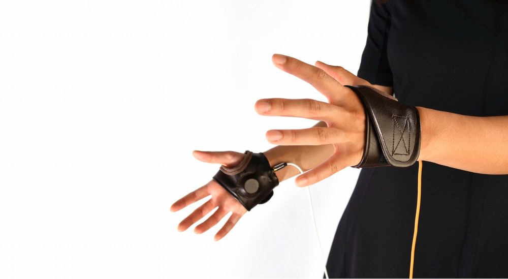 Haptic gloves shown at SIGGRAPH 2015 as part of an AR demo.