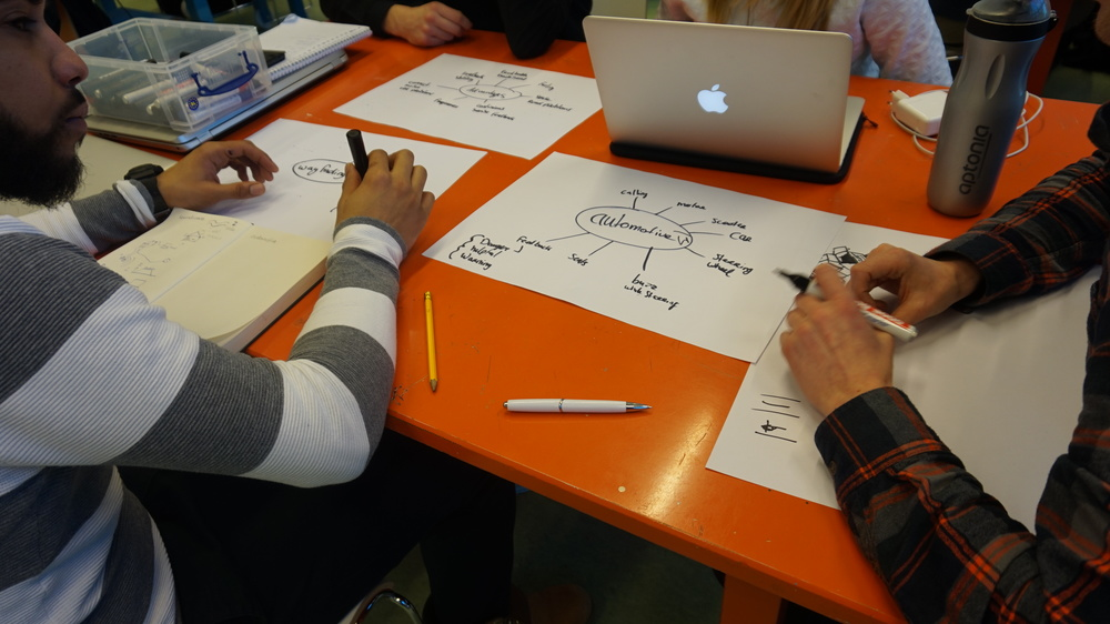 Students from Avans University diagramming their design process.