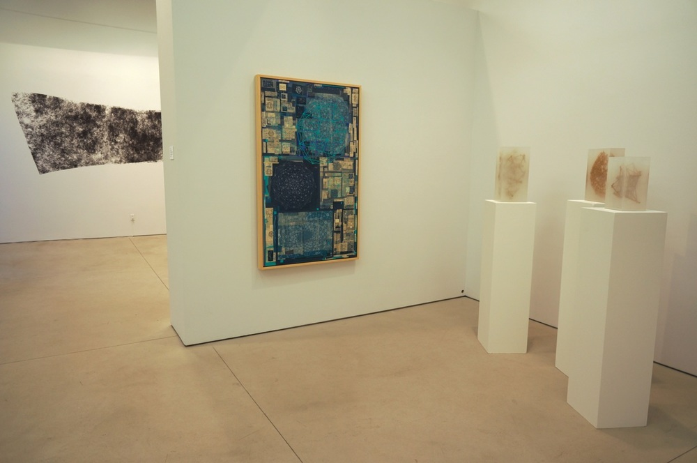 Stephen Talasnik, Endless Invention, 2009 (left); Constellation, 2008; Tunneling, 2008; Fossil, 2008 (right)