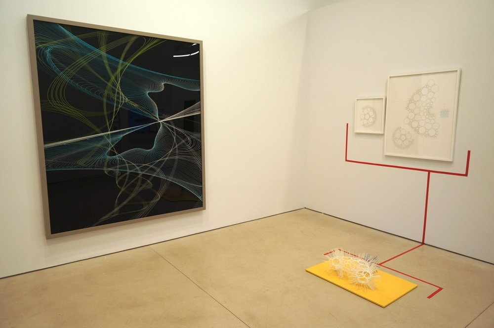 Thomas Ruff, Zycles 4065, 2009 (left); R. Justin Stewart, System of Knowing 06, 2009 (right)
