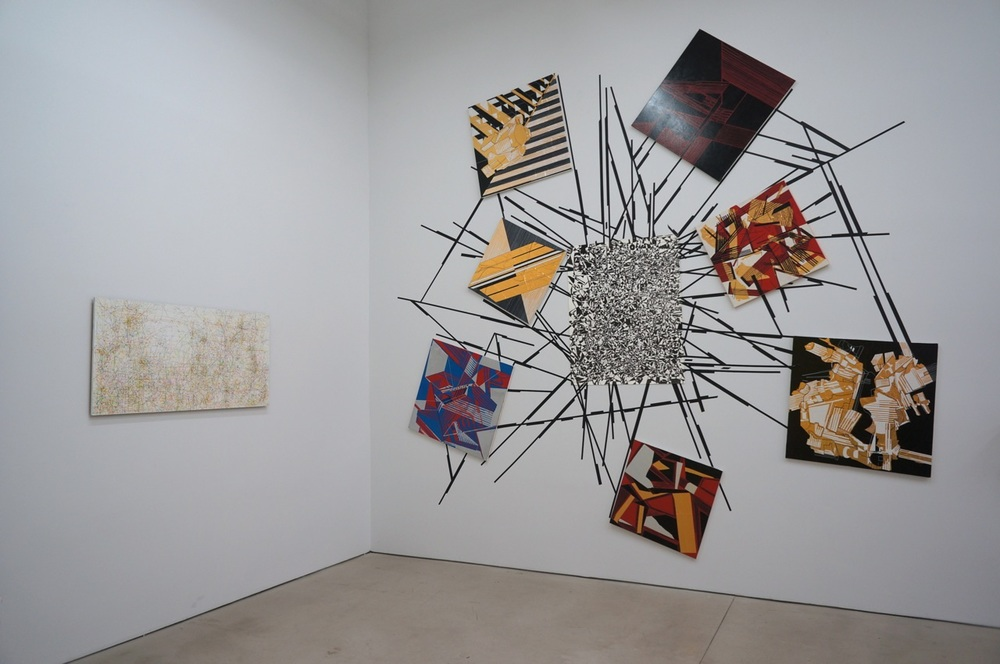 Kysa Johnson, Blowup 31, subatomic decay patterns, 2003 (left); Vargas-Suarez Universal, Orbital Debris, 2012 (right)