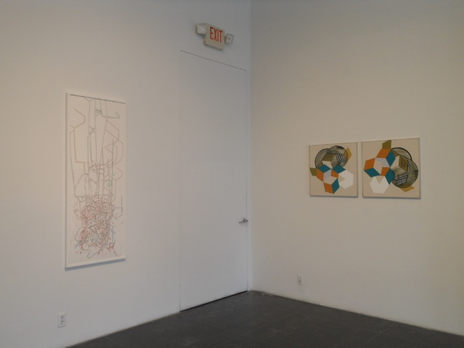 Felice Grodin, Networked, 2012 (left); Ramon Bofill, Rhombi: Orange, Turquoise, White, #1, 2012 (right)
