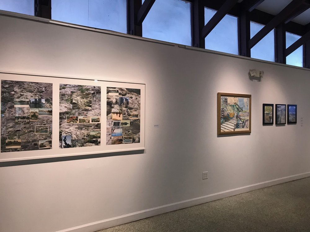 "From left to right : Gustavo Oviedo , Lori Nozick   Gustavo Oviedo,"" Tequesta "", 2016, eBay items and photo prints (detail)  Lori Nozick,"" Miami River 4 "", 2018, Nautical map, photo, collage, pencil, 29"" x 35""  Lori Nozick, "" Miami River 1-2-3 ""   2017, Nautical map, photo collage, pencil.  13 3/4"" x 16 3/4"""