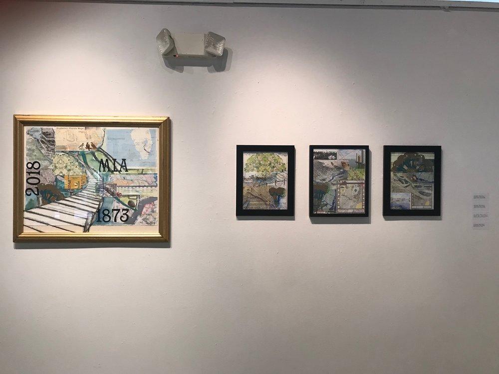 """From left to right : Lori Nozick   """" Miami River 4 """", 2018, Nautical map, photo, collage, pencil, , 29"""" x 35""""  """" Miami River 1-2-3 """"   2017, Nautical map, photo collage, pencil. 13 3/4"""" x 16 3/4"""""""