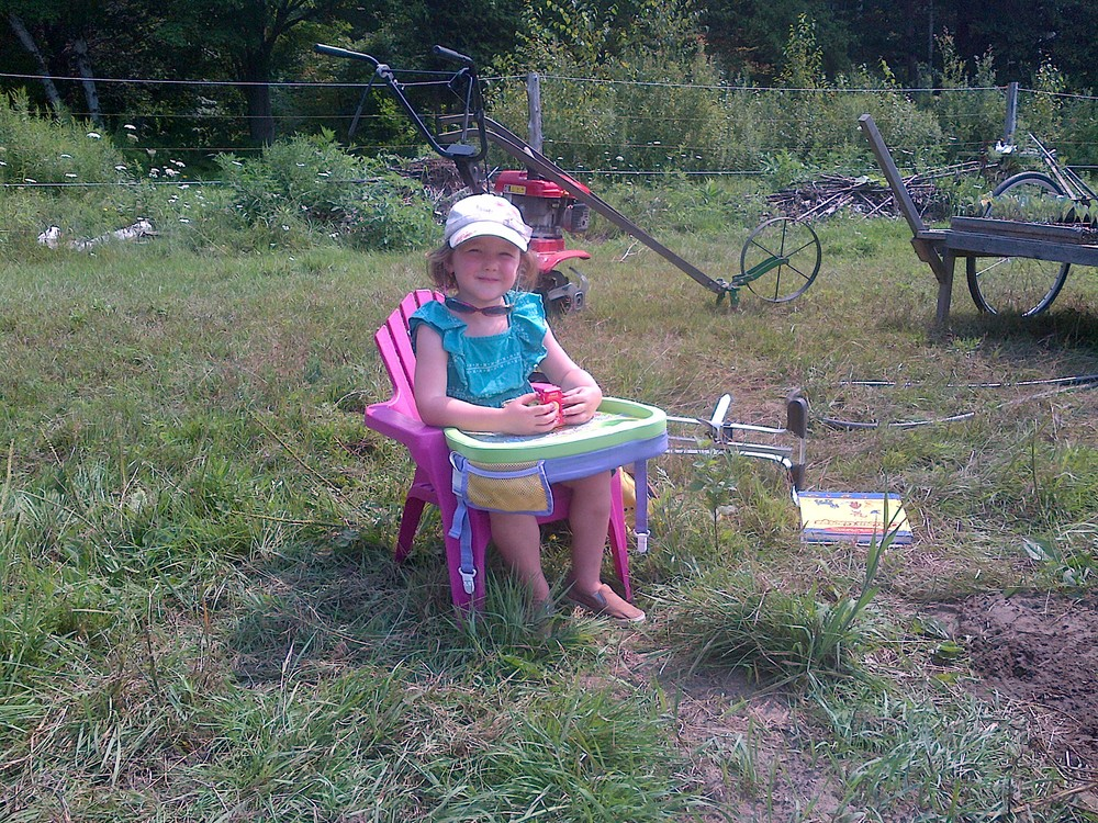 Garden School set up: kiddie Muskoka chair and travel activity table (from the car). Good for reading, drawing and snacking.