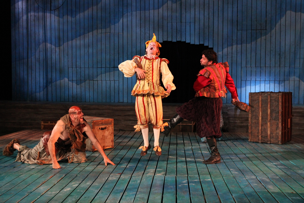 The Tempest  - Caliban (Mark Mineart), Trinculo (Andy Paterson), Stephano (Jay Leibowitz).JPG