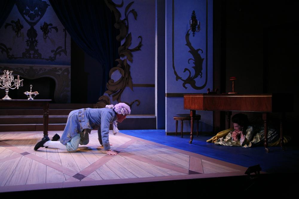 Amadeus - Mozart (Jordan Coughtry) and Constaze (Tricia Paoluccio).JPG