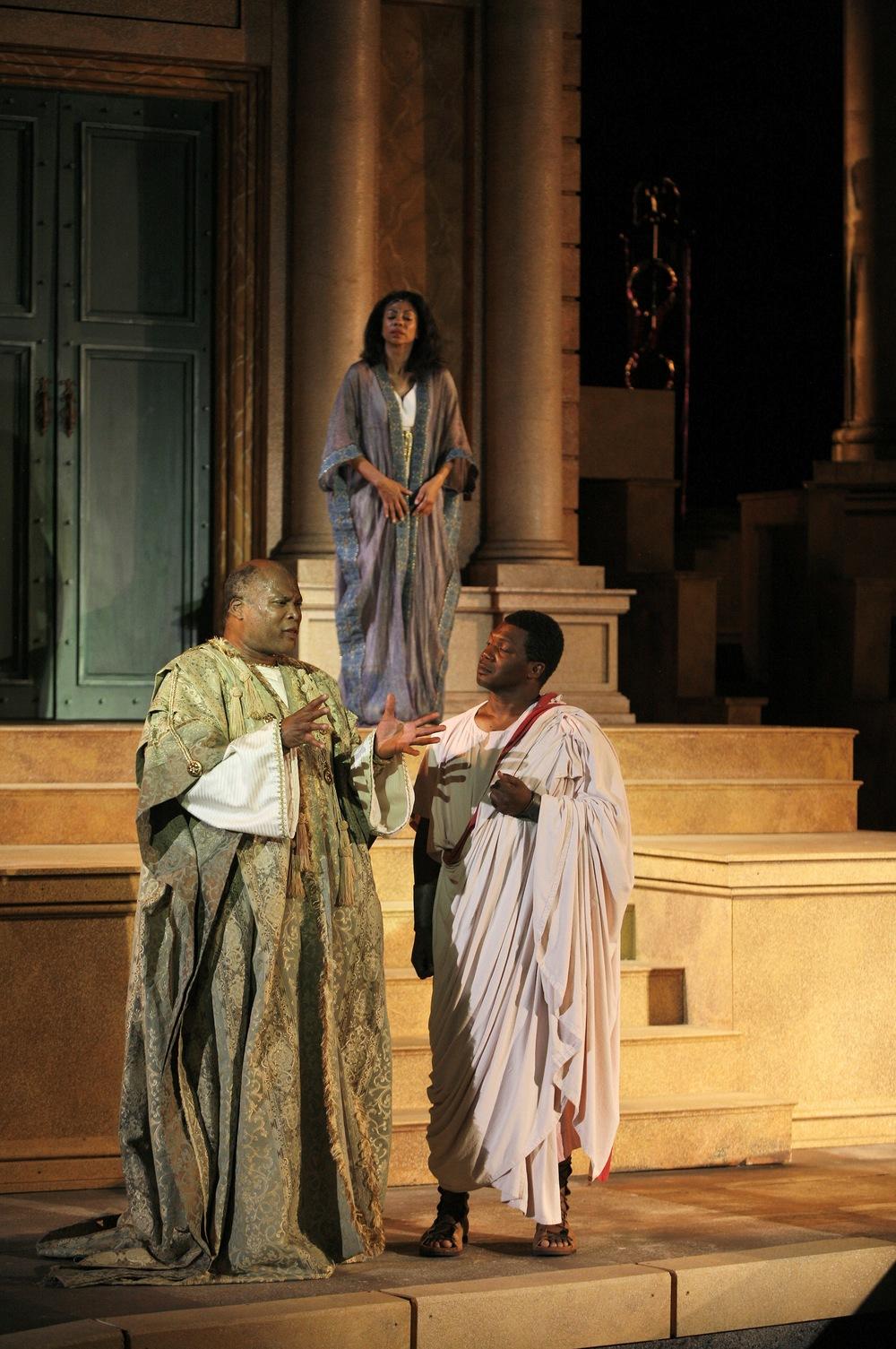 Julius Caesar - Caesar (Raphael Nash Thompson), Calphurnia (Monica Parks), Decius (Reggie Metcalf).jpg