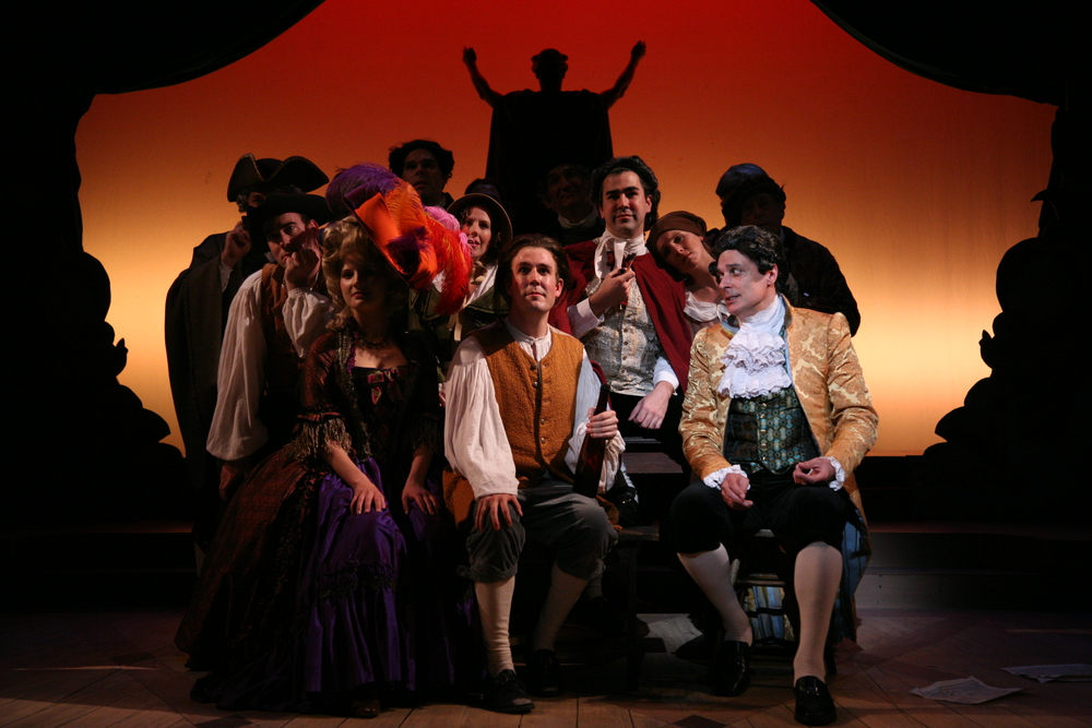 Amadeus - front row - Katherina Cavalieri (Katie Fabel), Mozart (Jordan Coughtry), Salieri (Robert Cuccioli).JPG