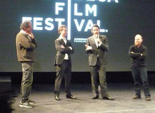 (l-r) Programmer of Experimental Films Jon Gartenberg leads filmmaker Ian Olds, filmmaker & actor James Franco and writer Paul Felton in an on-stage Q&A following FRANCOPHENIA at the School of Visual Arts during the 2012 Tribeca Film Festival.