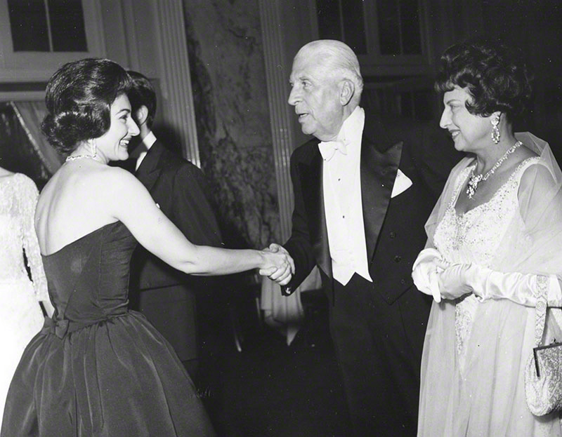 Mr. & Mrs. Buitoni greeting Callas at the Embassy Ball, following Mr. Buitoni's performance at Carnegie Hall