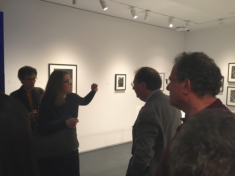 (left to right) Researcher Mira Schwerda, Exhibition Co-curator David Bindman & Jon Gartenberg from GME in Hugh Bell section of exhibit.