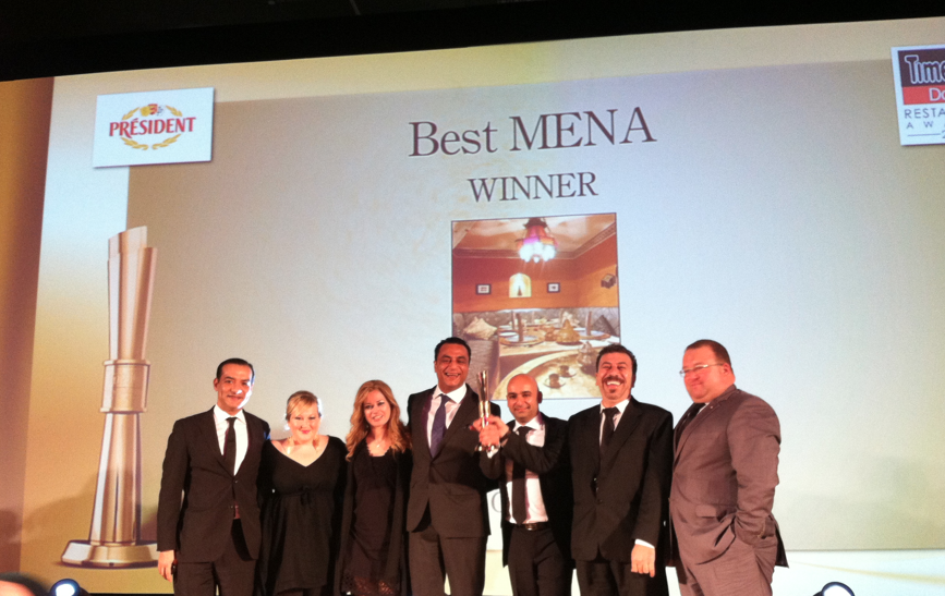 Up on stage after they just announced Tangia the M.E.N.A winner! (Middle East, North African)  It is the second highest award a restaurant could receive in a Gulf Country.