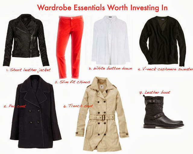 trench coat, pea coat, leather boot, leather jacket, white button down, cashmere sweater, chinos