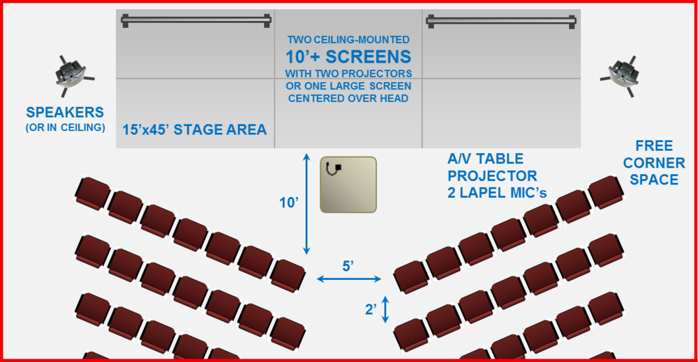 Large Event Layout with two screens, stage, & chevron seating