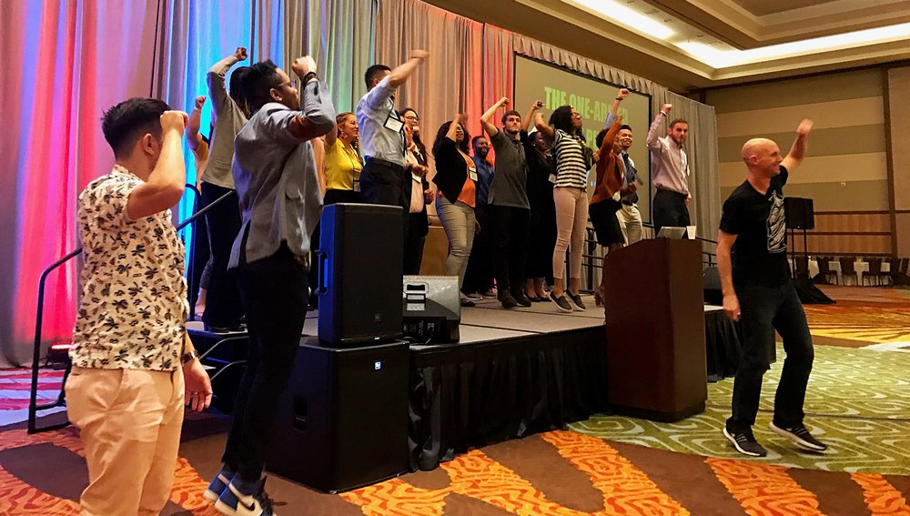 "The ""Blue Man Group dance"" at the NCSL closing keynote!"