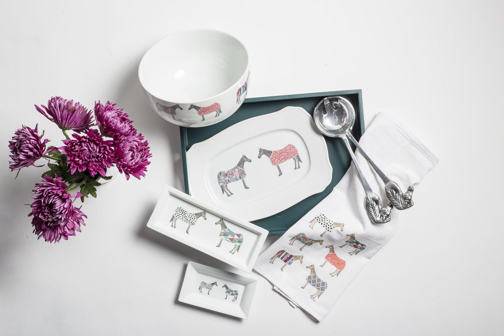 Horse of Windsor Collection - A new take on the equestrian theme - the Horse of Windsor collection features a delightful assortment of horses and colorful horse blankets.
