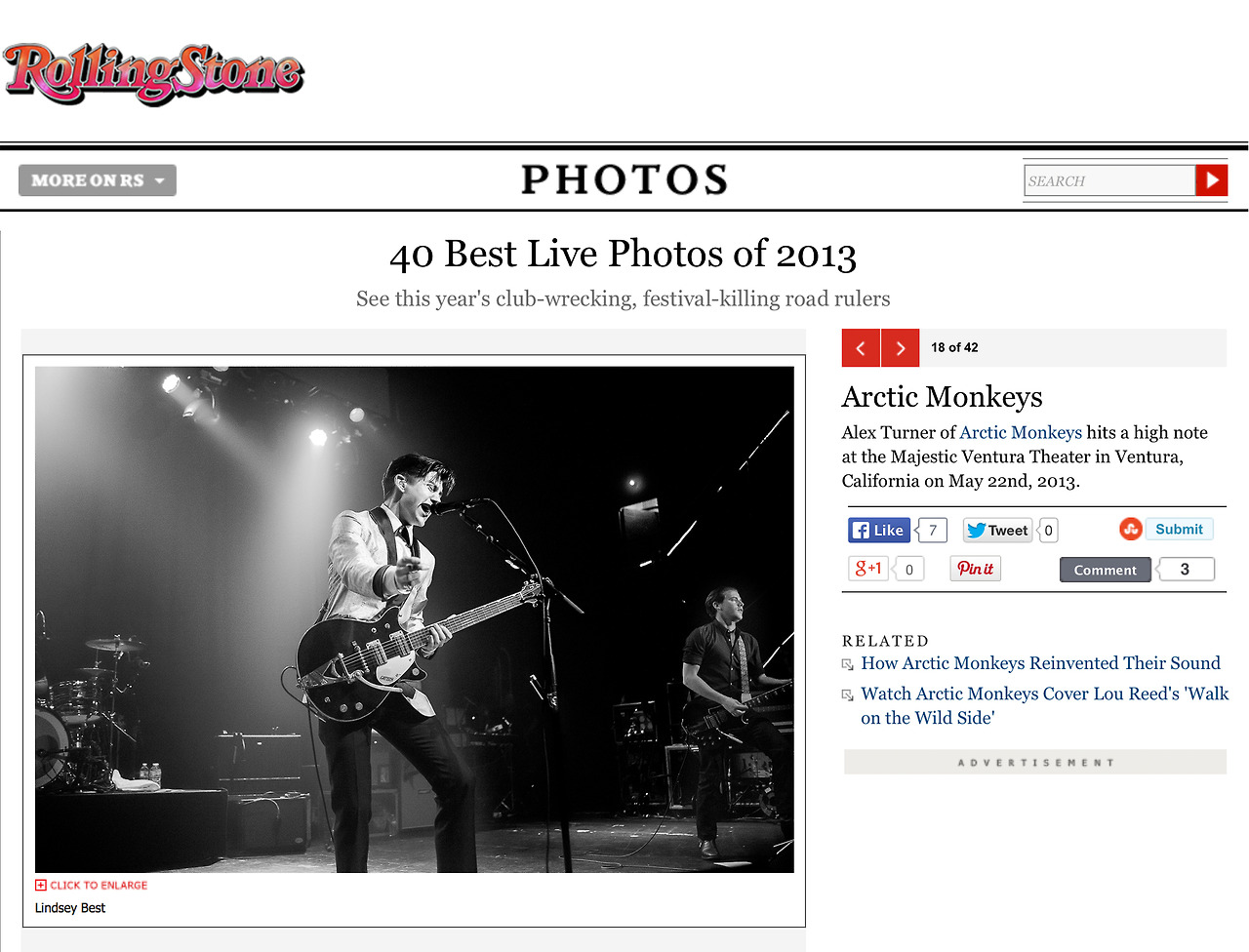 Rolling Stone included one of my photos of   Arctic Monkeys   in their end of the year  Best Live Photos of 2013 gallery . Cool. (I have a few others in their  full 2013 gallery  as well.)    http://www.rollingstone.com/music/pictures/40-best-live-photos-of-2013-20131217/arctic-monkeys-0254842     All Images Copyright © Lindsey Best. Please do not steal my images without prior consent & proper credit.  If you're interested in licensing an image or acquiring a print, please email me.     www.LindseyBest.com