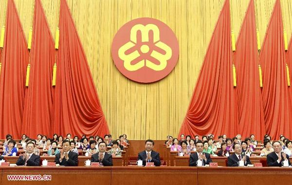 All male Chinese leaders Xi Jinping, Li Keqiang, Zhang Dejiang, Yu Zhengsheng, Liu Yunshan, Wang Qishan, Zhang Gaoli attend the 11th National Women's Congress of China which opened at the Great Hall of the People in Beijing, capital of China, Oct. 28, 2013. (Xinhua/Ma Zhancheng)