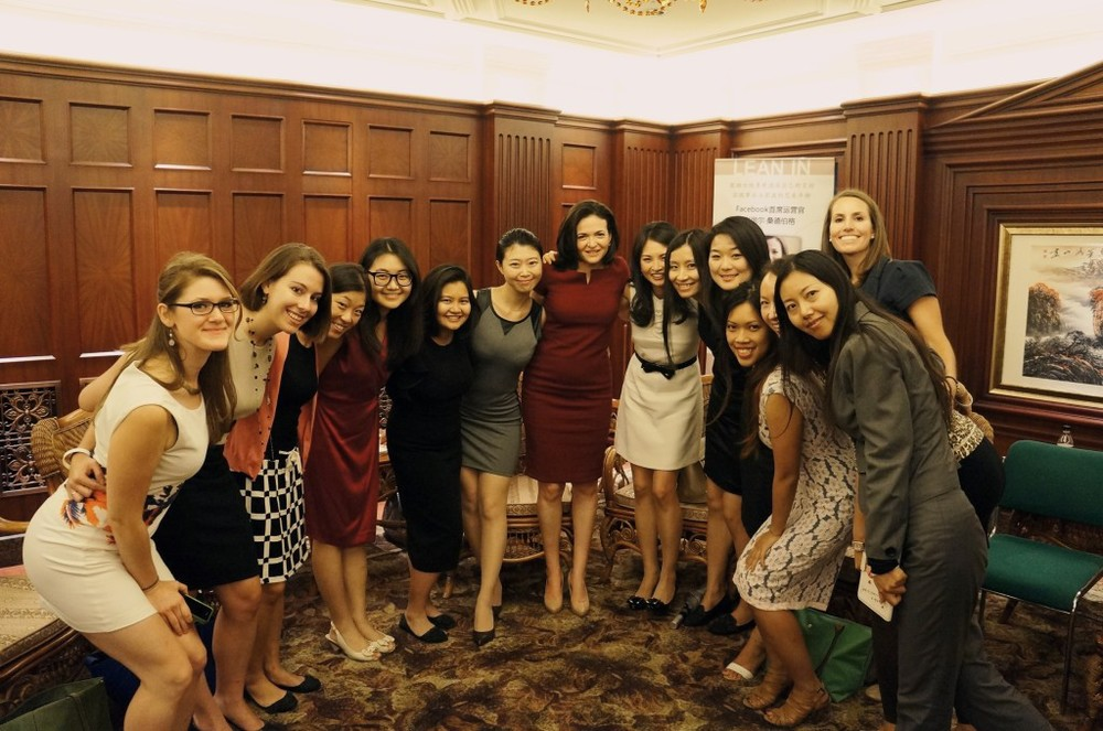 Women from Lean In Beijing circle meet Sandberg. Photo courtesy of Lean In Beijing.