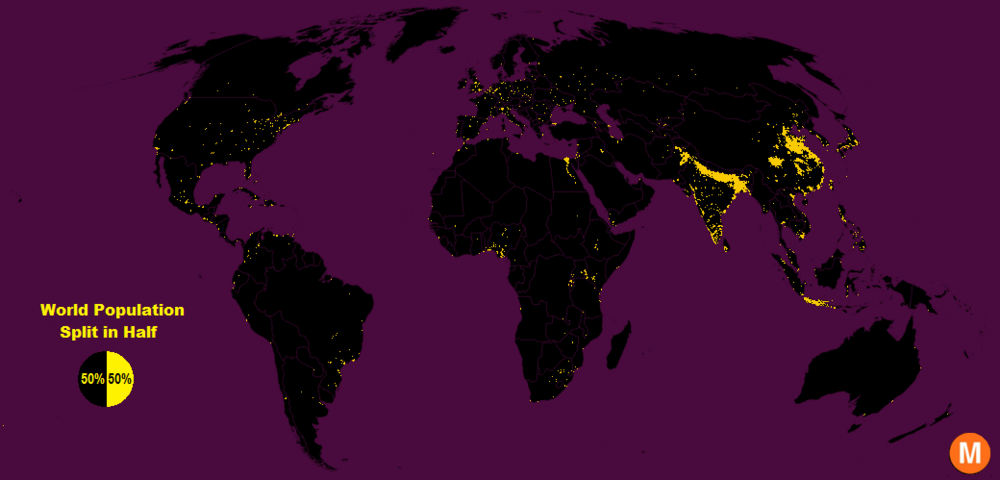 The black areas on this map represent population densities of less than 900 people per square mile - - source, Max Galka.