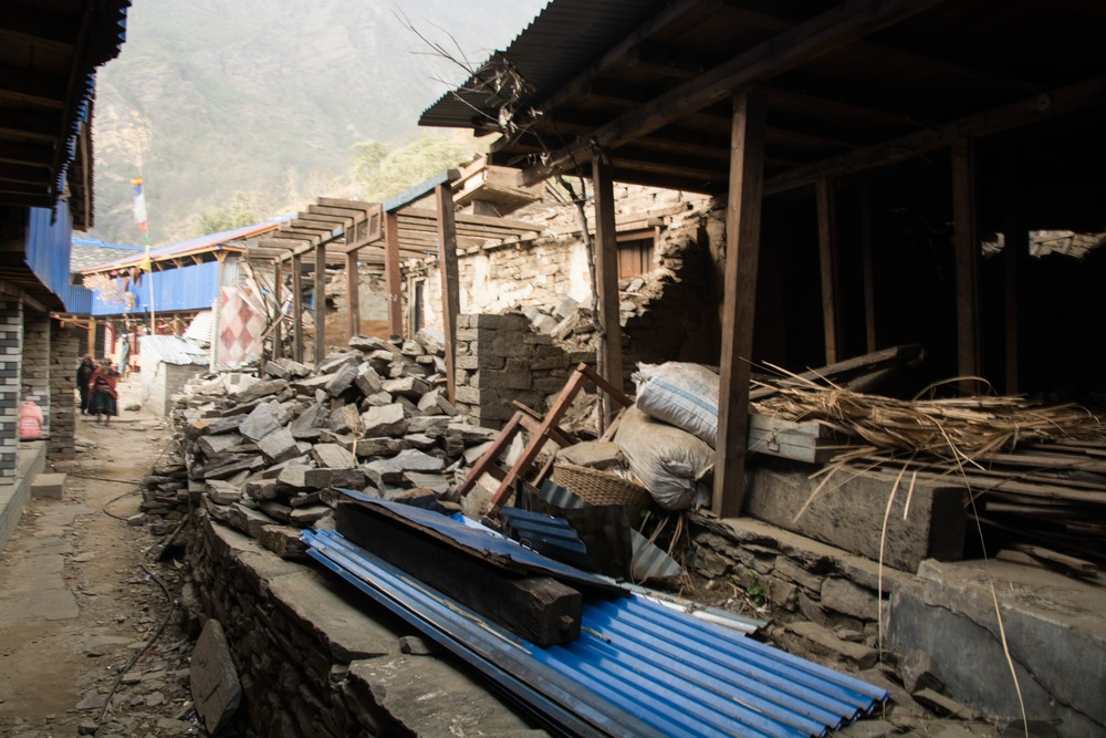 Dhading is located in a mountainous region of Nepal; in addition to damaged homes and buildings, landslides caused by the quake destroyed fields that villagers - most of whom are subsistence farmers - depend on for their living - Photo by Mark Morrison.
