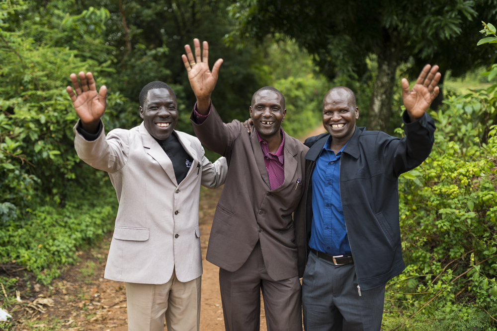 The Cell Kenya Ministries Coordinator David Juma (right) with two church pastors. Cell Church has proven to be effective in connecting churches as well as equipping the community. Photo credit - Tim Coleman