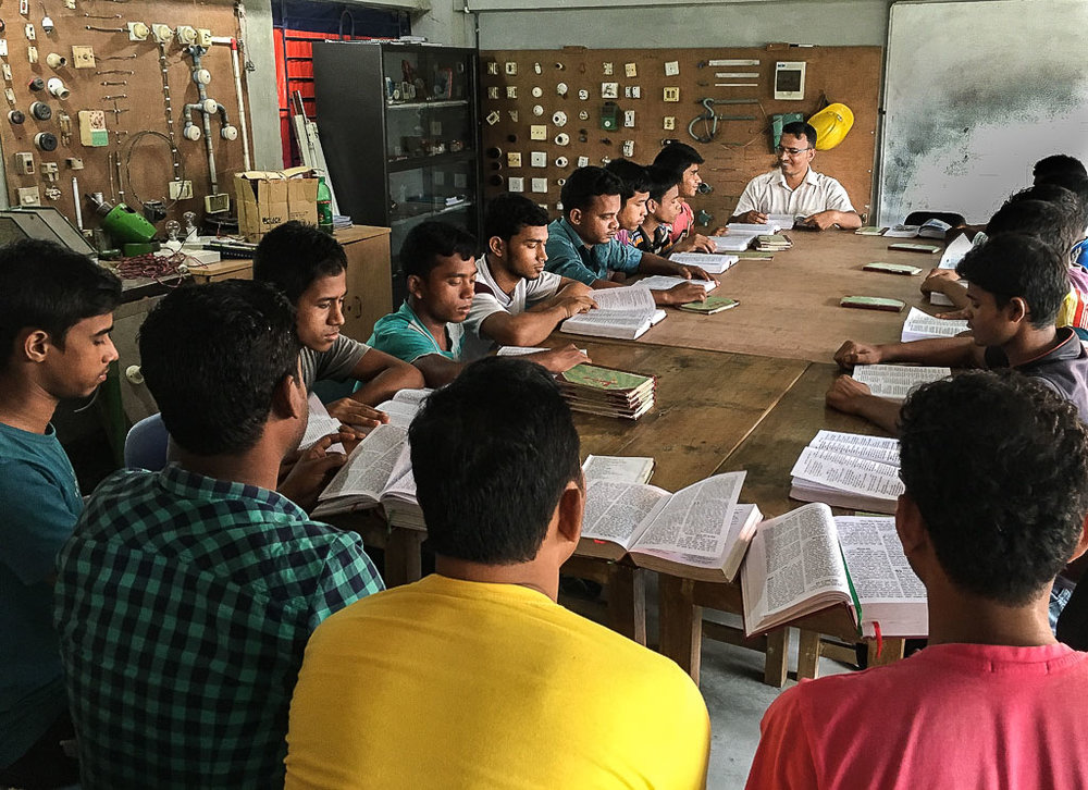 The young men at STC gather in the morning for a time of prayer and Bible study - Photo courtesy of the Salam Training Centre.