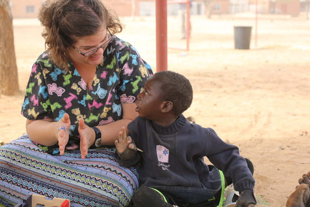 Deb and her team (Justine Rehak, pictured) realized at their camp in February that it isn't only the children who need support for their disabilities, but also their mothers, especially in a culture where disability is associated with shame - Photo courtesy of Deb Knight.